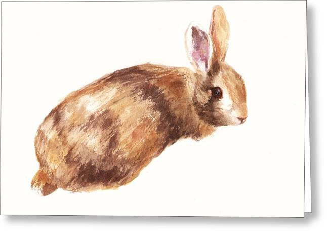 Bunny Print - Coffee And Cream Greeting Card by Alison Fennell