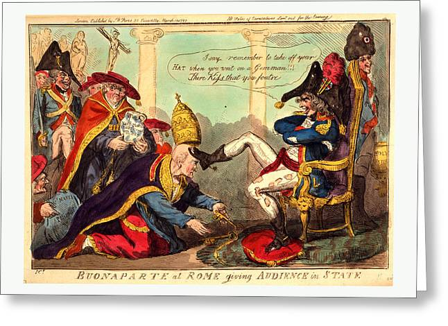 Buonaparte At Rome Giving Audience In State, Cruikshank Greeting Card