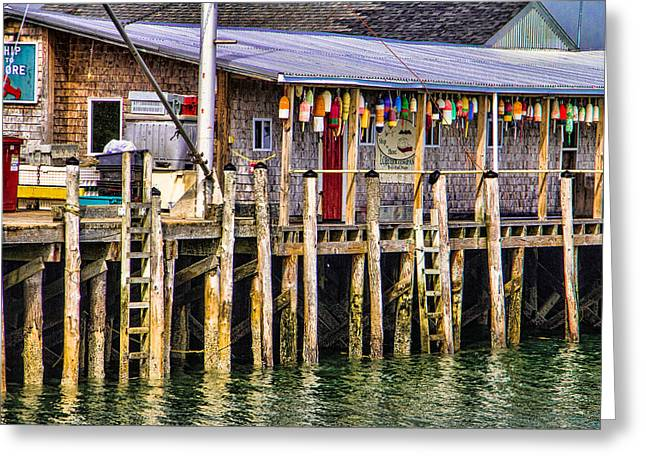 Buoys On The Pier Greeting Card by Steven Bateson