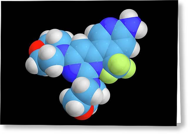Buparlisib Experimental Drug Molecule Greeting Card by Dr Tim Evans