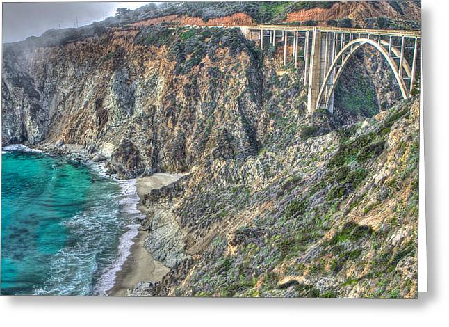 Bur Sur The Pacific And Bixby Bridge Greeting Card by SC Heffner