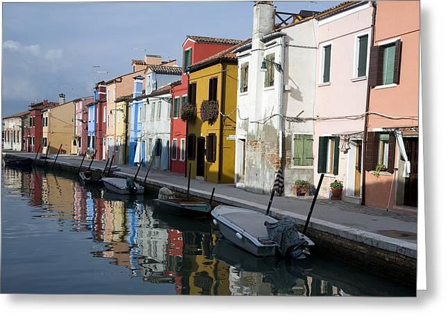 Burano Italy Greeting Card by John Jacquemain