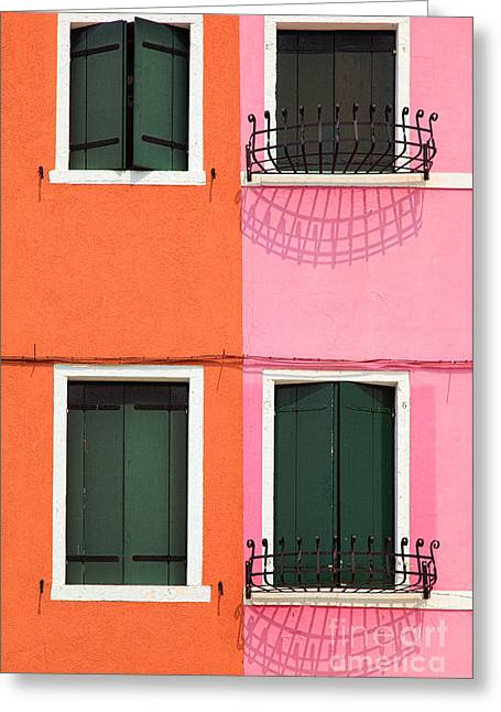 Facades Greeting Cards - Burano Pink and Orange Greeting Card by Inge Johnsson
