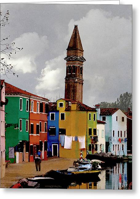 Burano Tower Greeting Card
