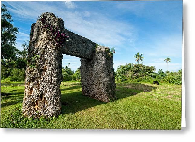 Burden Of Maui, Stone Trilithon Built Greeting Card by Michael Runkel