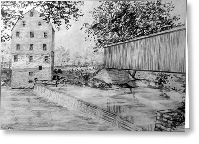 Burfordsville Bridge And Bollinger Mill Greeting Card by James Pinkerton