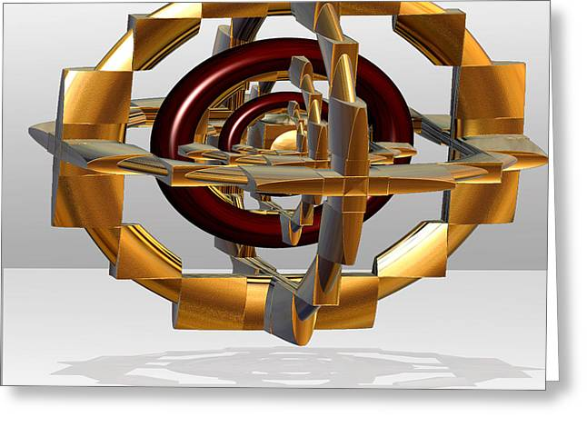 Greeting Card featuring the digital art Burgundy And Gold by Melissa Messick
