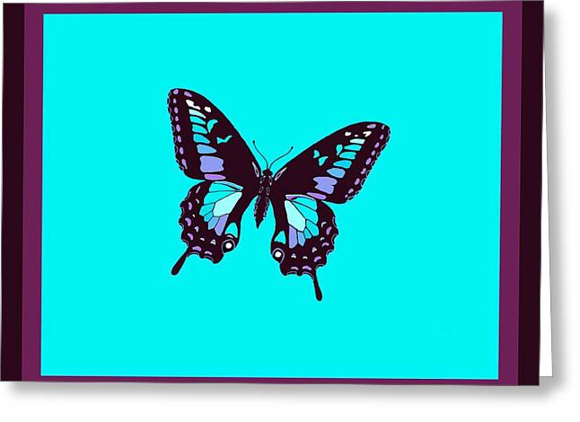 Burgundy Butterfly Blue Background 2 Borders Greeting Card by L Brown