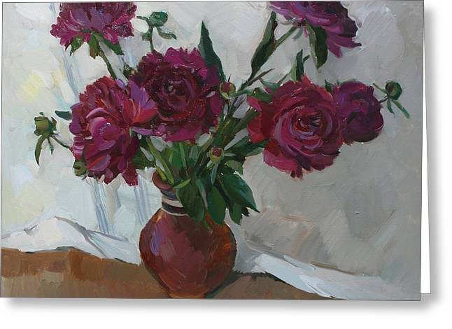 Burgundy Peonies Greeting Card