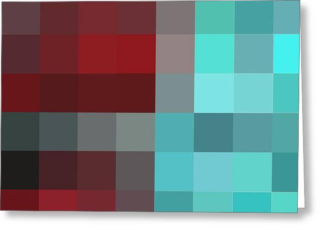 Burgundy Tartan II Abstract Pixel Art Digital Mixed Media Painting By Megan Duncanson Greeting Card by Megan Duncanson