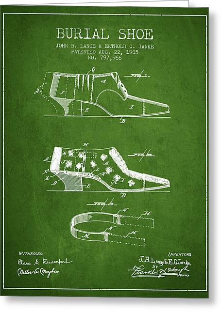 Burial Shoe Patent From 1905 - Green Greeting Card by Aged Pixel