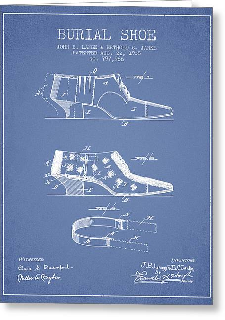 Burial Shoe Patent From 1905 - Light Blue Greeting Card by Aged Pixel