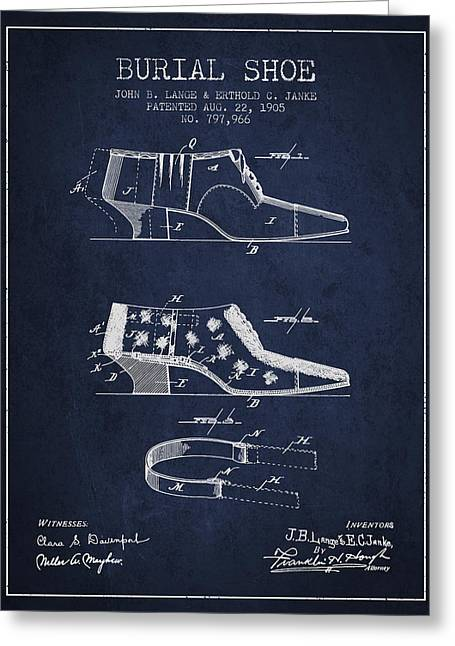 Burial Shoe Patent From 1905 - Navy Blue Greeting Card by Aged Pixel