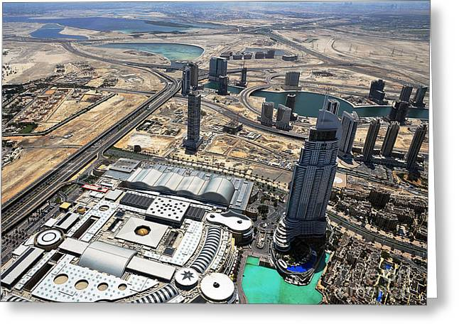 Burj Khalifa Observation Deck View - 01 Greeting Card by Graham Taylor