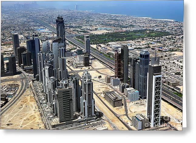 Burj Khalifa Observation Deck View - 02 Greeting Card by Graham Taylor