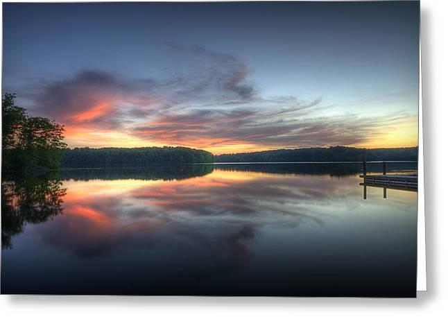 Burke Lake Reflection Greeting Card by Michael Donahue