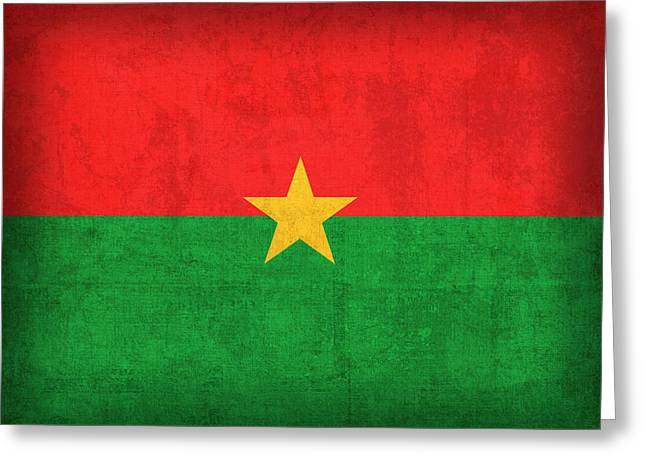 Burkina Faso Flag Vintage Distressed Finish Greeting Card by Design Turnpike
