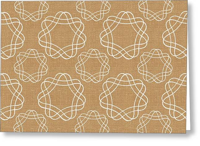Burlap And White Geometric Flowers Greeting Card by Linda Woods