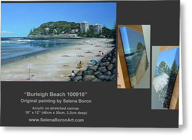 Greeting Card featuring the painting Burleigh Beach 100910 Comp by Selena Boron