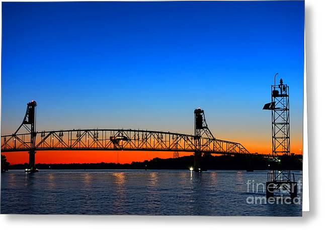 Burlington Bristol Bridge Greeting Card by Olivier Le Queinec