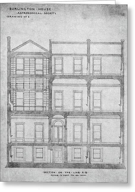 Burlington House Architectural Plans Greeting Card by Royal Astronomical Society/science Photo Library