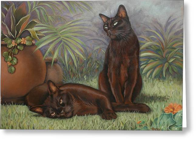 Greeting Card featuring the painting Burmese Beauty by Cynthia House
