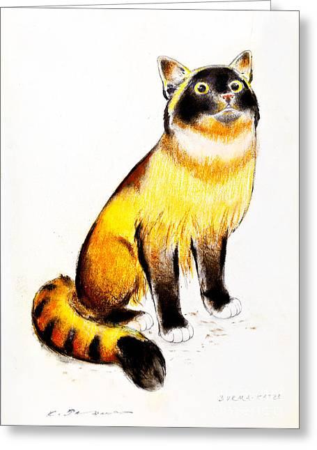 Burmese Cat Greeting Card by Kurt Tessmann