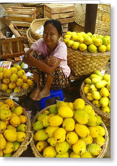 Burmese Lady Selling Fresh Mangoes Zay Cho Street Market 27th Street Mandalay Burma Greeting Card by Ralph A  Ledergerber-Photography