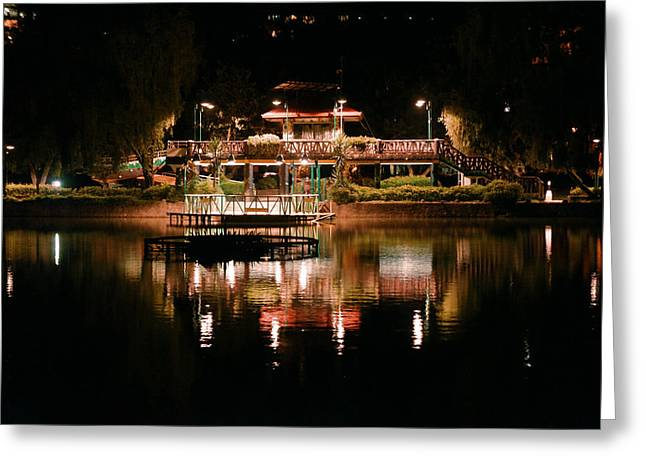 Burnham Park At Night Greeting Card by Joel Panida