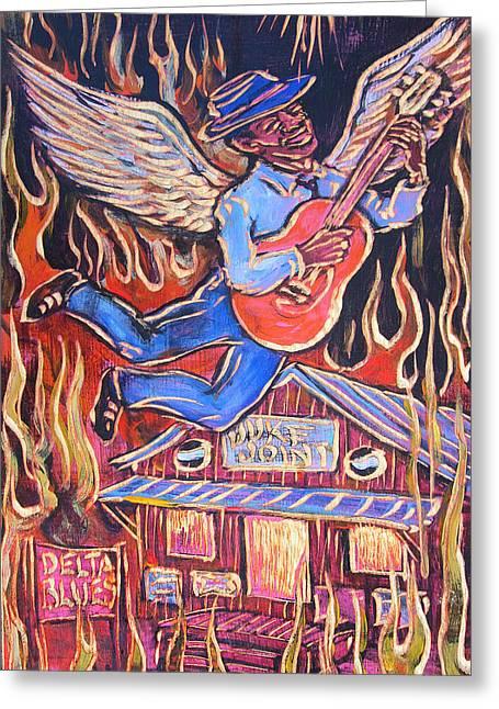 Burnin' Blue Spirit Greeting Card by Robert Ponzio