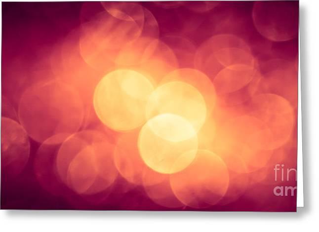 Burning Bokeh Greeting Card by Jan Bickerton