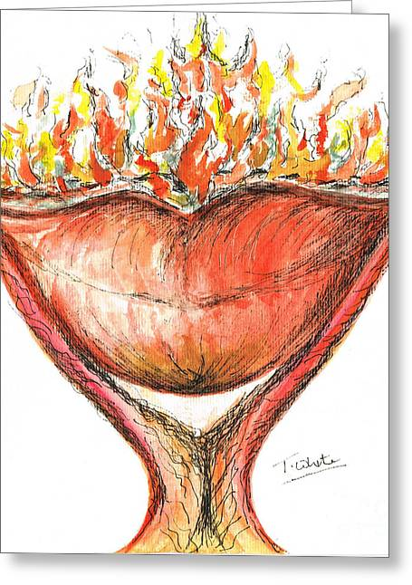 Greeting Card featuring the painting Burning Hot Lips by Teresa White