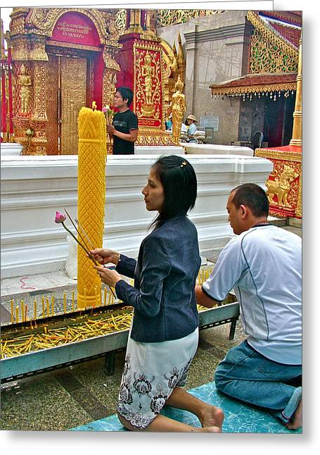 Burning Incense At Wat Phrathat Doi Sutep In Chiang Mai-thailand Greeting Card by Ruth Hager