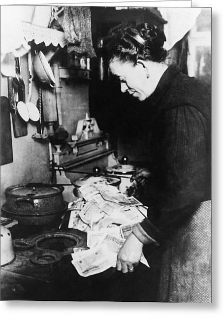 Burning Money, 1920s German Inflation Greeting Card