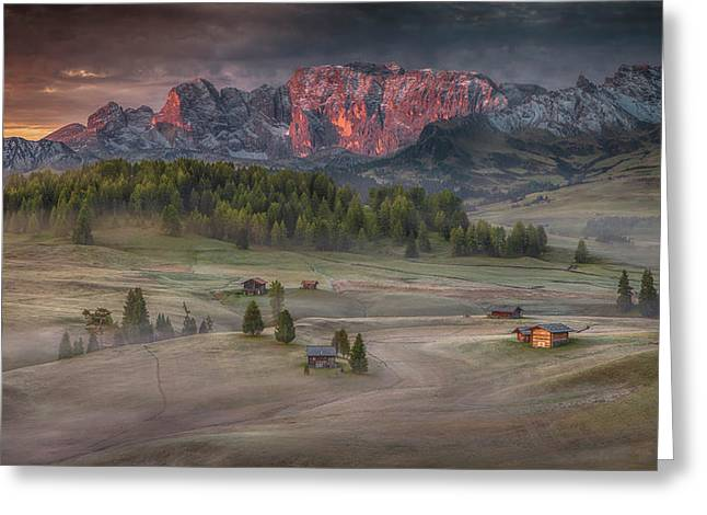Burning Mountains Over The Frozen Valley Greeting Card