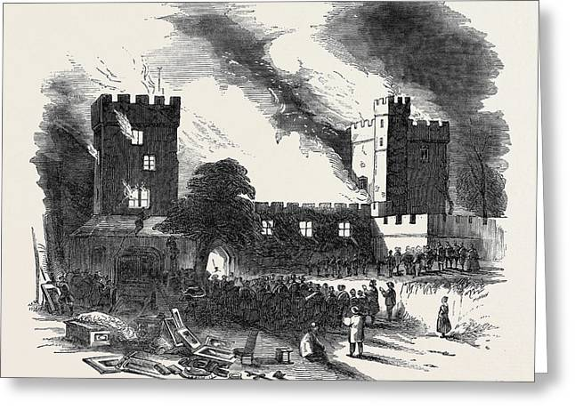 Burning Of Naworth Castle Greeting Card by English School