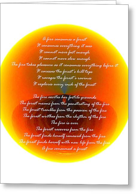 Burning Orb With Poem Greeting Card by Brent Dolliver