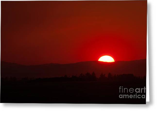 Burning Sky Greeting Card by Charles Kozierok