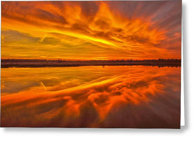 Burning Sky Greeting Card by Donnie Smith