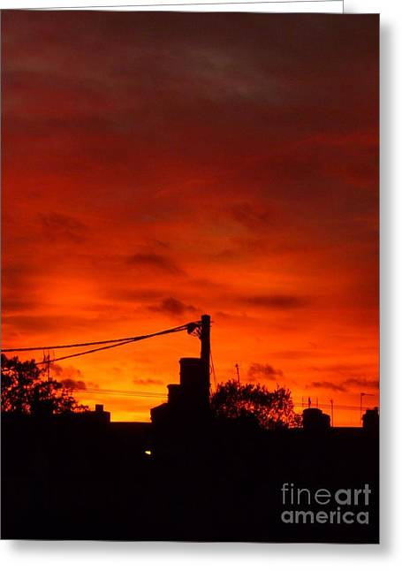 Burning Sky Greeting Card by Vicki Spindler