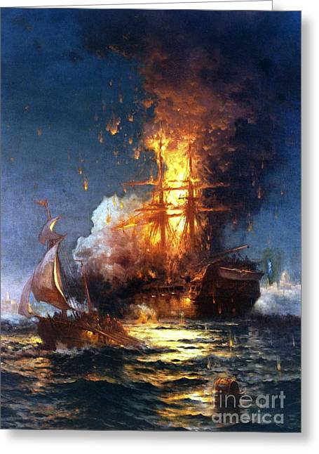 Burning The Uss Philadelphia Greeting Card