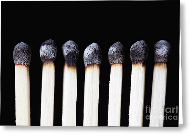 Burnt Matches On Black Greeting Card