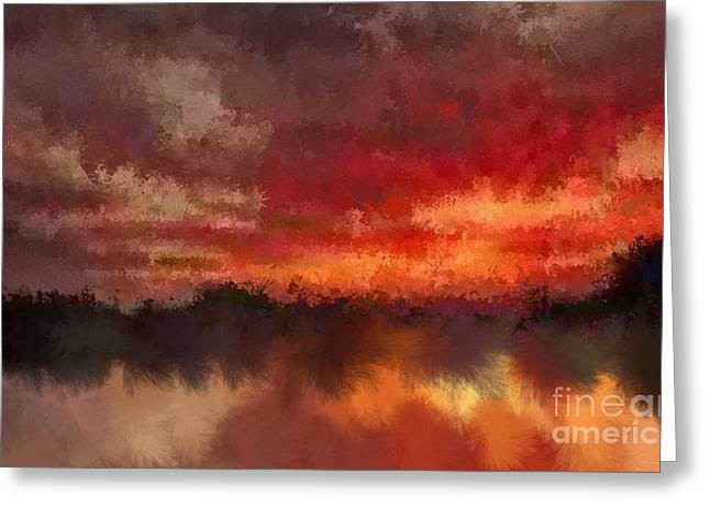 Burnt Sunset Greeting Card by Holley Jacobs