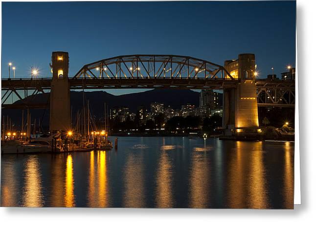 Burrard Bridge In The Evening Greeting Card