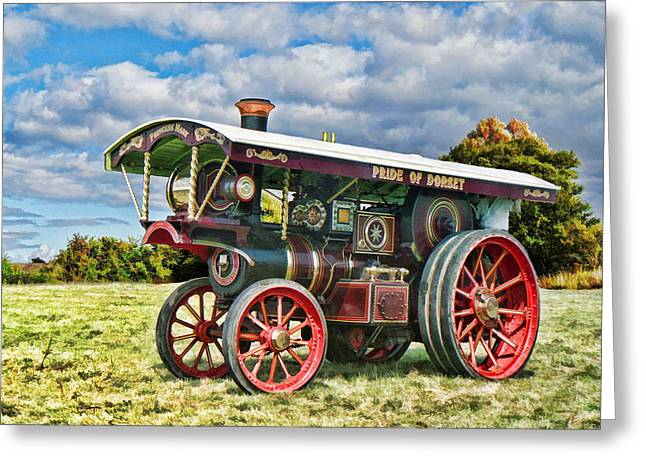 Greeting Card featuring the digital art Burrell Showmans Engine by Paul Gulliver