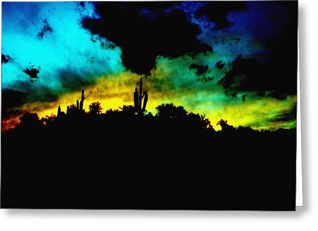 Burro Sunset Abstract Greeting Card by Alfredo Martinez