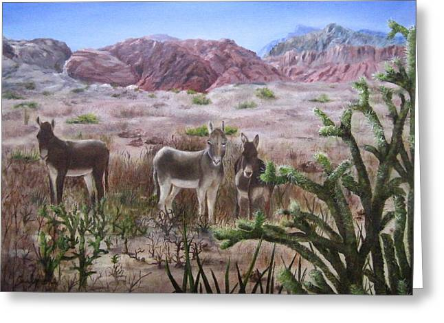 Burros At Red Rock Greeting Card by Roseann Gilmore