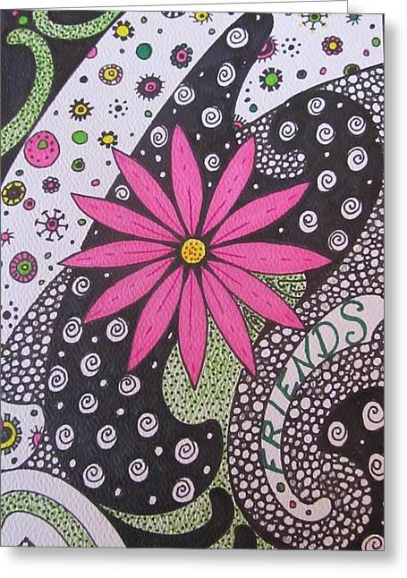 Burst Of Pink Zen Tangle Greeting Card by Sharon Duguay