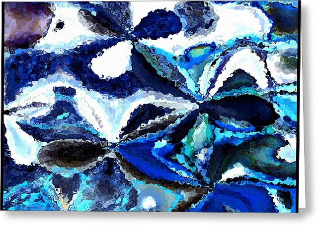 Bursts Of Blue And White - Abstract Art Greeting Card