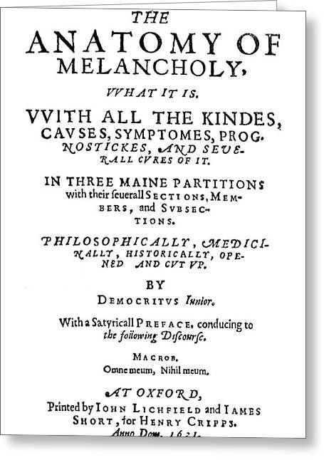 Burton Title Page, 1621 Greeting Card